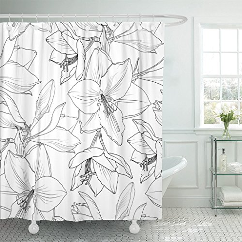 VaryHome Shower Curtain Amaryllis Hippeastrum Lilly Floral Spring Summer Flowers Detailed Black and White Drawing Outline Sketch Waterproof Polyester Fabric 72 x 72 inches Set with (Amaryllis Garland)