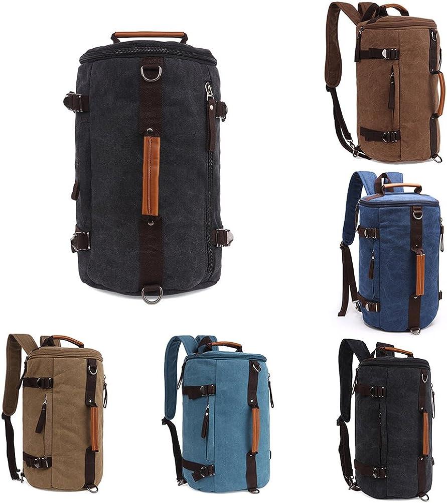Grey990 Men Vintage Canvas Backpack Camping Gym Zip Sports Bag Luggage Travel Crossbody Shoulder Bag Handbag