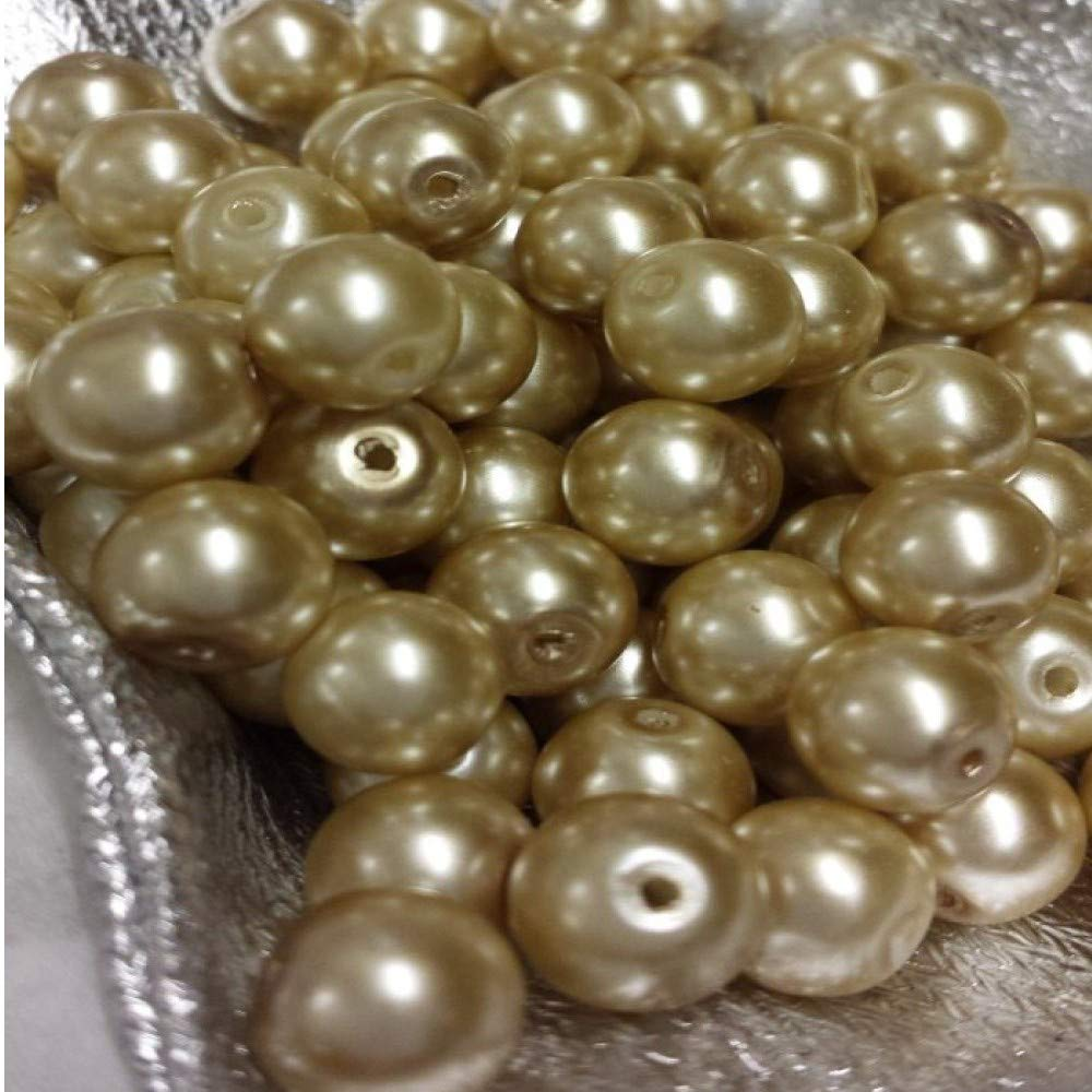 loose spacer beads Pale Gold k2-accessories 100 pieces 6mm Glass Pearl Beads Beads are not stuck. A0953 NEW PACKAGING