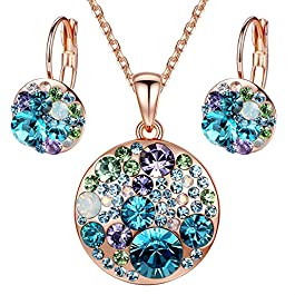 Leafael Ocean Bubble Women's Jewelry Set Made with Swarovski Crystals Costume Fashion Pendant Necklace Earring Set, Silver Tone or 18K Rose Gold Plated, 18″ + 2″, Gifts for Women