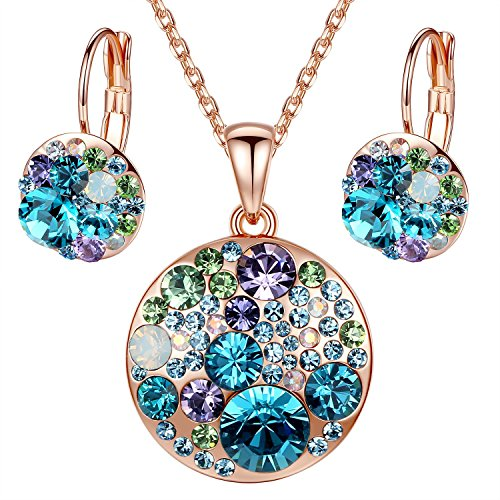 Leafael Ocean Bubble Women's Jewelry Set Made with Swarovski Crystals Light Sapphire Blue Green Purple Costume Fashion Pendant Necklace Earring Set, 18K Rose Gold Plated, 18