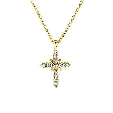 Amazon dazzmoon simple religious cross necklace 18k gold plated dazzmoon simple religious cross necklace 18k gold plated pendants men women aloadofball Images