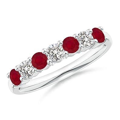 Amazon.com: Cinta de boda de rubí y diamante con siete ...
