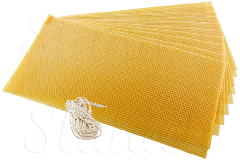 Stakich CANDLE MAKING Beeswax Kit, (Approx. 8 1/8'' x 16 3/4'') - Top Quality, 100% Pure Beeswax - … (10 Sheets)