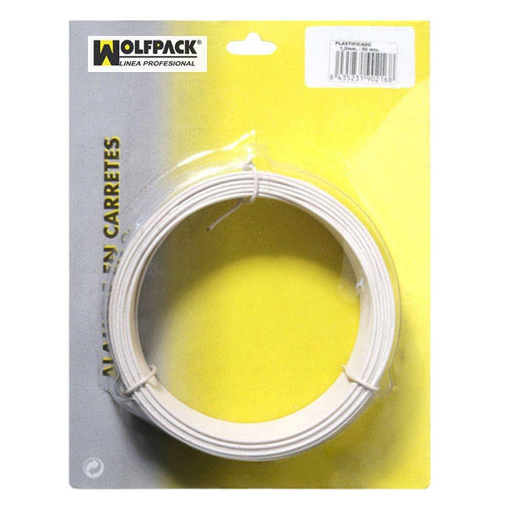 Wolfpack 1010087 Alambre Plastificado 1,2 mm Blanco Rollo 50 metros