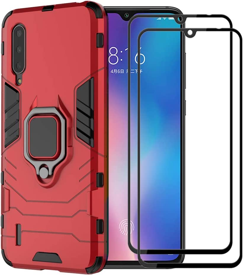 XIFAN Funda para Xiaomi Mi A3, [Robusto] Anillo Metálico Soporte [Funciona con El Montaje De Coche Magnético] Case Carcasa, Rojo + 2 Piezas Protector de Pantalla