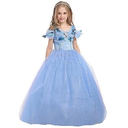 professionelles Design Qualität hohe Qualität ELSA & ANNA® Mädchen Prinzessin Kleid Verrücktes Kleid Partei Kostüm Outfit  DE-FBA-CNDR5 (2-3 Jahre - Size Code XS, Blau)