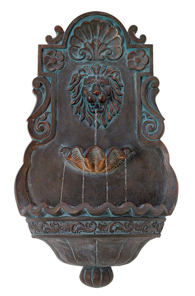 """Lion Head Bronze 31 1/2"""" High Indoor Outdoor Fountain"""