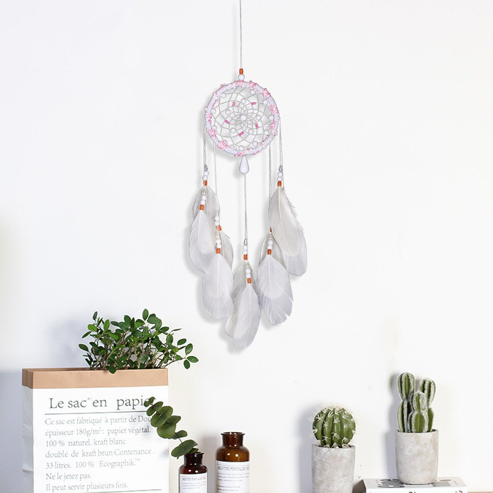 Tuscom White Handmade Feather Colorful Pearl Dream Catcher |for Car Wall Hanging Room Home Decor (11x53cm) (White) by Tuscom@ (Image #5)