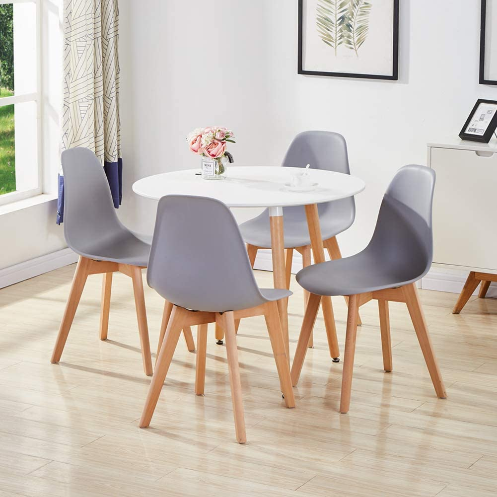 GOLDFAN Dining Room Set Dining Table and Chairs Set 10 Modern Round Kitchen  Table Wood Style (White & Grey)
