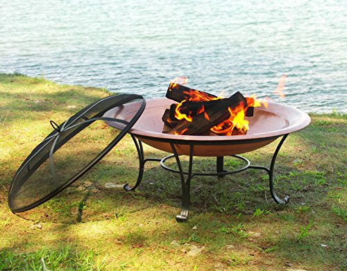 """Catalina Creations AD112 30"""" Solid Copper Fire Pit, 30 inch - STYLISHNESS: Contemporary solid hammered copper fire pit with a 4 legged powder-coated constructed base made from wrought iron - beautiful addition to a backyard, beach, camper, vacation home or cabin. QUALITY FEATURES: Copper constructed to accommodate larger fires - 30"""" diameter X 12"""" high, weighs 20 lbs. poker, log grate, metal weaved spark screen, and storage cover included. PRACTICAL DESIGN: As well as a fire pit it can also function as a decorative patio accent, beverage stand, or a unique indoor arrangement. The fire pit easily assembles with basic tools. - patio, outdoor-decor, fire-pits-outdoor-fireplaces - 61U4 fE1KIL -"""