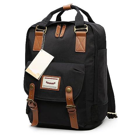 379ca3e065fe HaloVa Backpack, Unisex Laptop Bag Travel Rucksack, Small School Bag  Daypack for School Working Hiking, Waterproof & Durable, Black