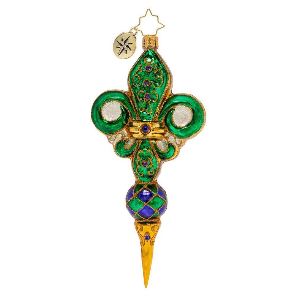 Christopher Radko Fleur De Lis Christmas Ornament, Green