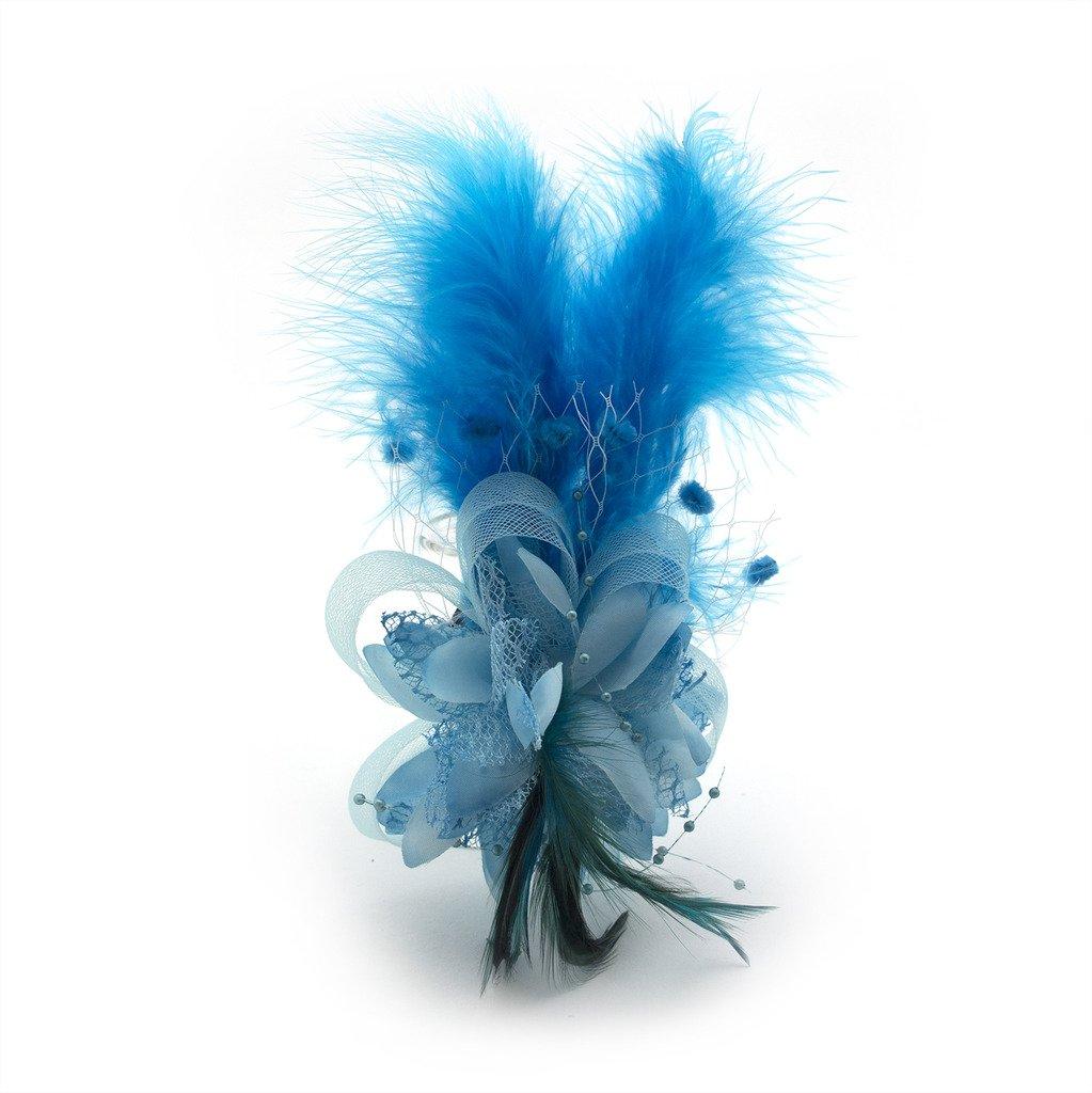 Ladies 'ファッショナブルソフトフェザーNetアスコット/ Derby Day Fascinator Headdress B01IR2PXCC ターコイズ ターコイズ