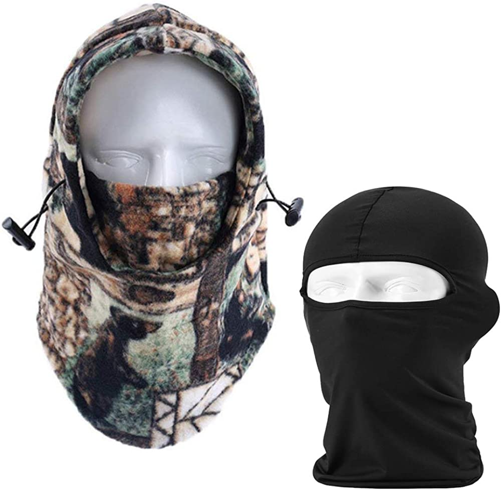 Balaclava Face Mask,2 Pack Outdoor Windproof Camouflage Fleece Head Hat Face Mask Winter Balaclava Tactical Hood Balaclava Outdoor Sports Mask Windproof Face Mask for Men & Women (Random Color)