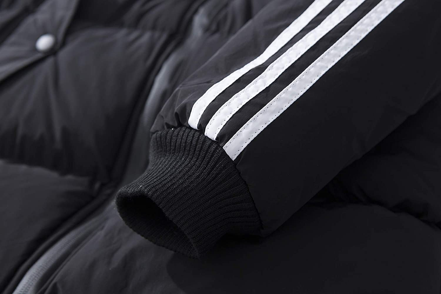 Winwinus Mens Hooded Cotton Stripe Mid Length Fitted Down Coat