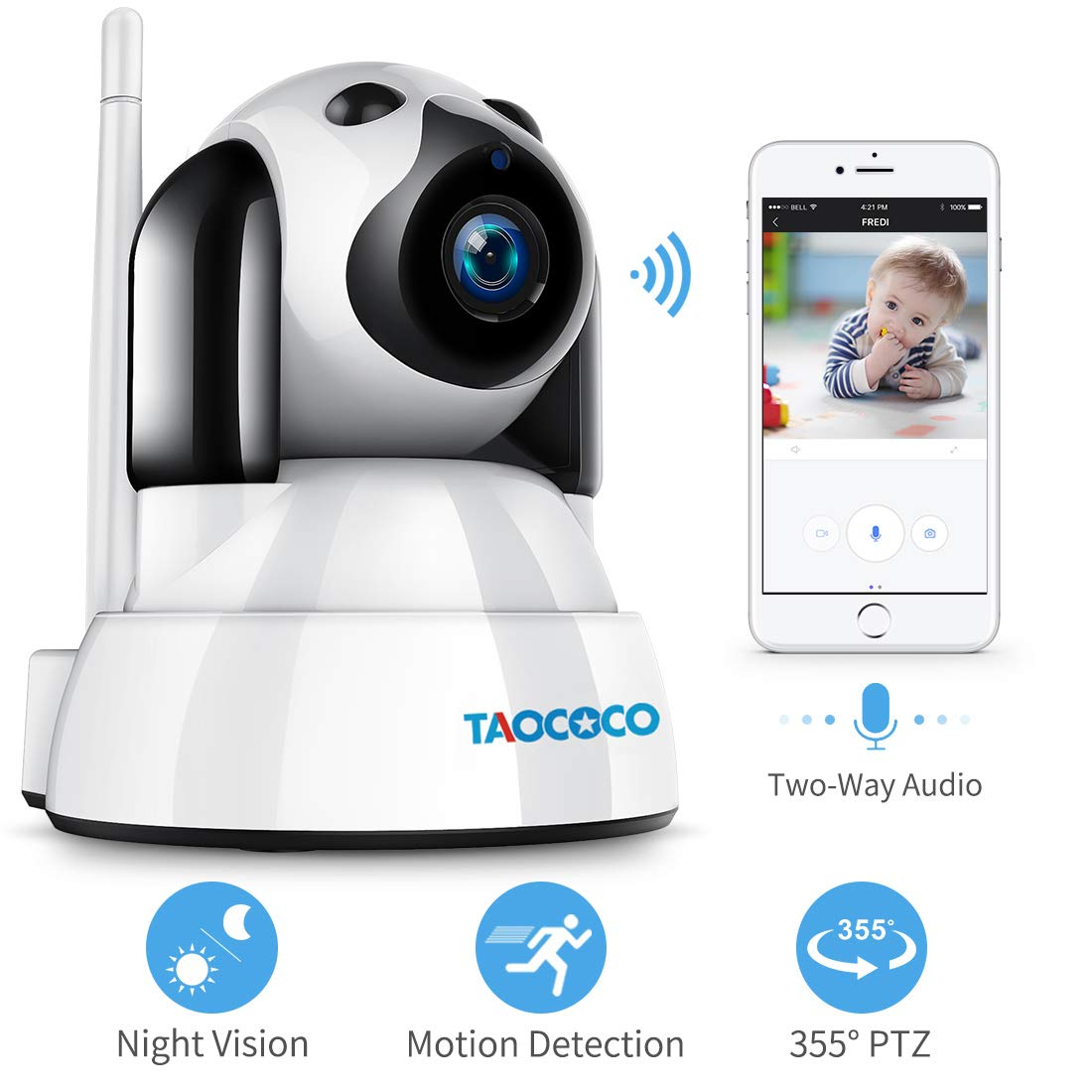 TAOCOCO Baby Monitor, Dog Camera, FHD Dog Camera WiFi IP Camera, Wireless Security Camera, Home Nanny Cam with Smart Pan Tilt Zoom, Infrared Night Vision, Motion Detection, Two Way Talking