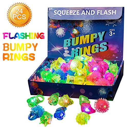 Flashing Light Up Bumpy Ring Toys LED Finger Lights 24 Pack Party Favor Blinking Jelly Rubber Rings