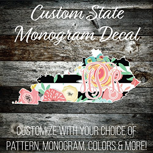 Custom Kentucky Monogrammed Decal - 6 inch Wide (LP256CD6KY) Preppy Patterned Vinyl - Outdoor Rated Cute Custom Decal - Top Quality