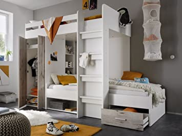 CRAVOG Hochbett Etagenbett 2 90x200 CM Kinderzimmer ...