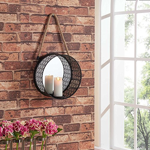 CraftVatika Metal Decorative Wall Mounted Hanging Art Sculpture Mirror Candle Holder Home Office Bedroom Modern Decor Arts(Size: 12 Inches) (Candle Sculpture)