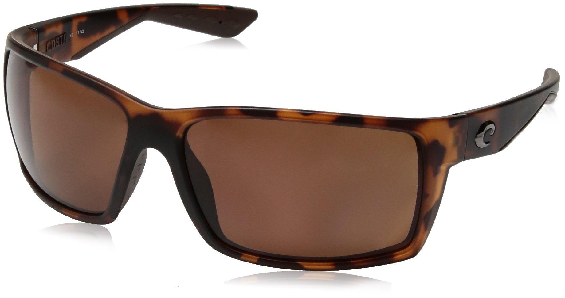Costa del Mar Men's Reefton Polarized Rectangular Sunglasses, Matte Retro Tortoise, 63.7 mm