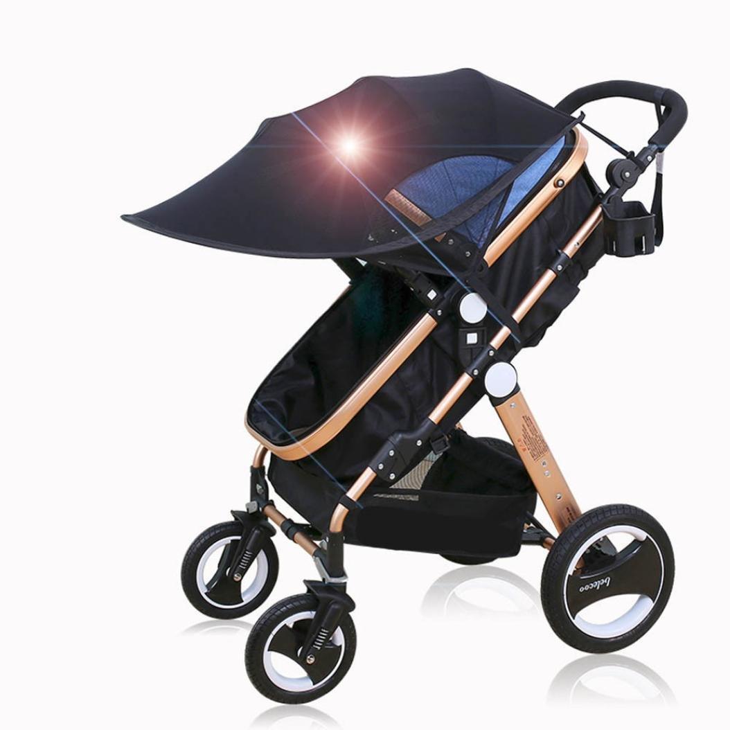 JPOQW UPF 50+ Adjustable Baby Stroller Sun Shade Sun Visor (Black) by JPOQW (Image #2)