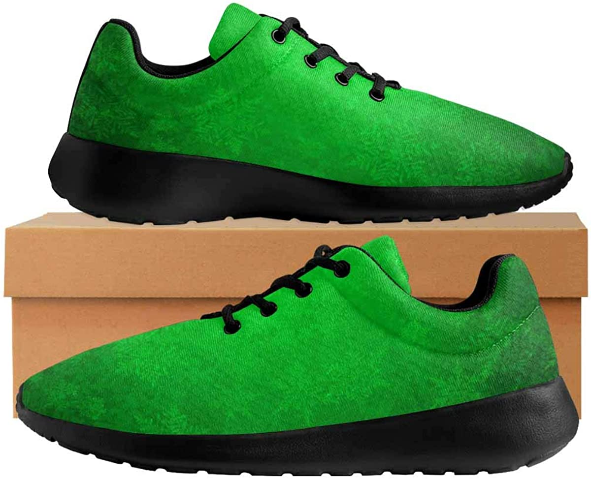 INTERESTPRINT Green Christmas Background Womens Comfortable Running Sneakers Mesh Cloth Breathable Sport Shoes