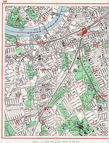 Amazon wandsworth clapham junction earlsfield southfields clapham junction earlsfield southfields hurlingham park 1964 old map antique map reheart