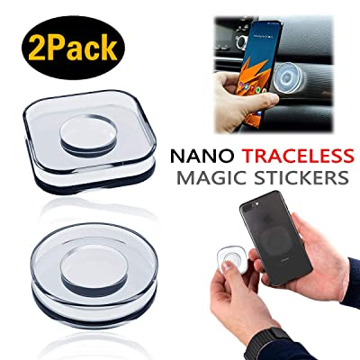 2 Pieces PJLJY Nano Magic Paste Phone Holder Nano Gel Pad PU Materia Nano Casual Paste Reusable Traceless Magic Sticker for Car, Office, Home Storage of Various Small Device and Items