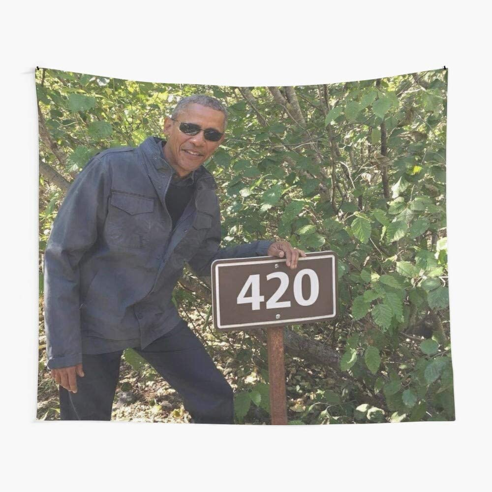 CuYatry 420 Obama Print Boutique Tapestry Wall Hanging Tapestry Vintage Tapestry Wall Tapestry Micro Fiber Peach Home Decor 59.1X51.2 in