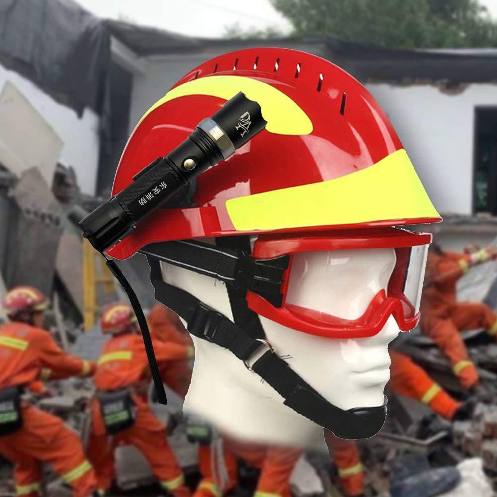 Extaum Rescue Helmet F2 Emergency Fire Fighter Cascos de Seguridad Lugar de Trabajo Protecci/ón contra Incendios Casco con Faro Delantero y Gafas de protecci/ón Anti-Impacto Resistente al Calor