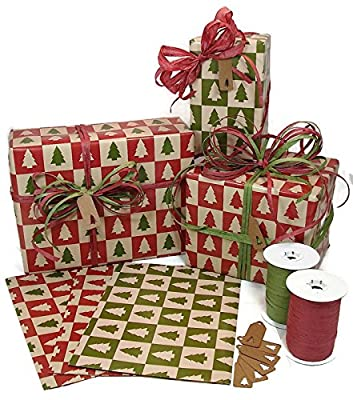 Kraft-Style Christmas Gift Wrap, Raffia Ribbon, and Kraft Gift Tags Kit