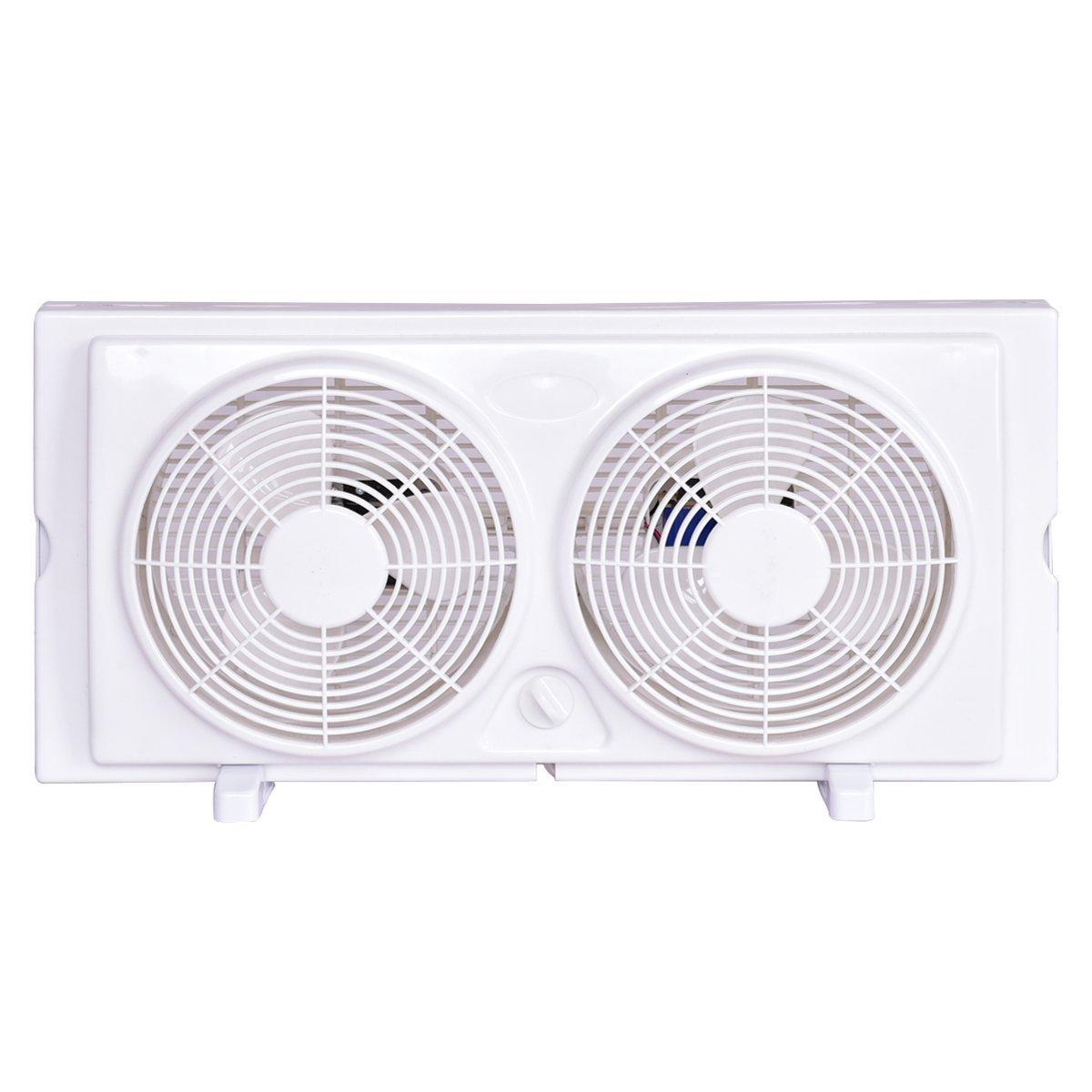 COSTWAY Twin Window Fan 7'' 2-Speed Setting Reversible Airflow Dual Blade Fan w/Manual Control and Removable Legs (White) by COSTWAY