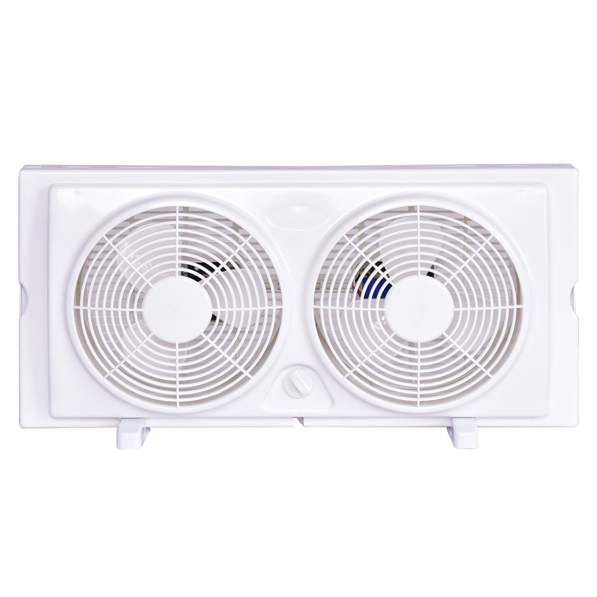 COSTWAY Twin Window Fan 7'' 2-Speed Setting Reversible Airflow Dual Blade Fan w/Manual Control and Removable Legs (White)