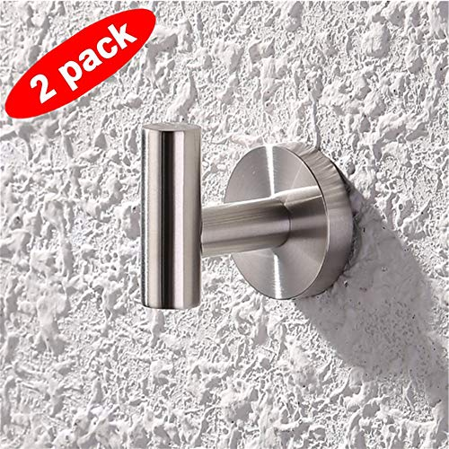 ASLD Chrome Bath Towel Hook, Stainless Steel Single Prong Robe Hook, Clothes Wall Coat Hook or Bathroom Kitchen Bedroom, Pack of 2