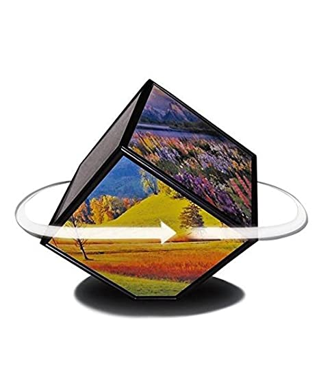 Photo Frame Plastic Automatic Rotation Magic Cube Photo Frame