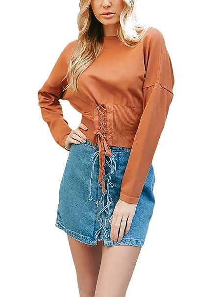 Mujer Camisetas Manga Larga Basicas Elegantes Camisas Invierno Otoño Cuello Redondo Cintura con Cordón Blusones Tops