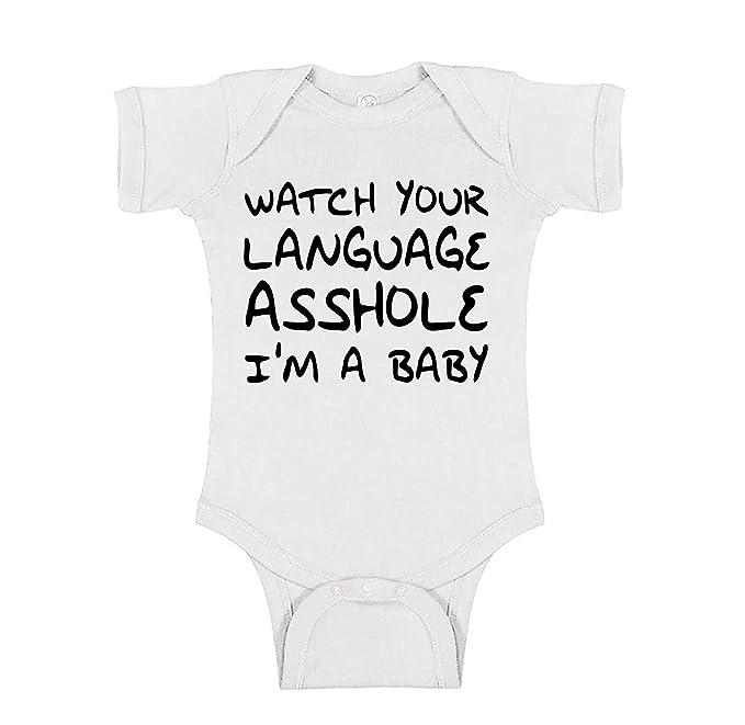 Amazon.com: Mad Ink Fashions Watch Your Language Asshole Im a Baby Novelty  Infant Baby Unisex Bodysuit: Clothing