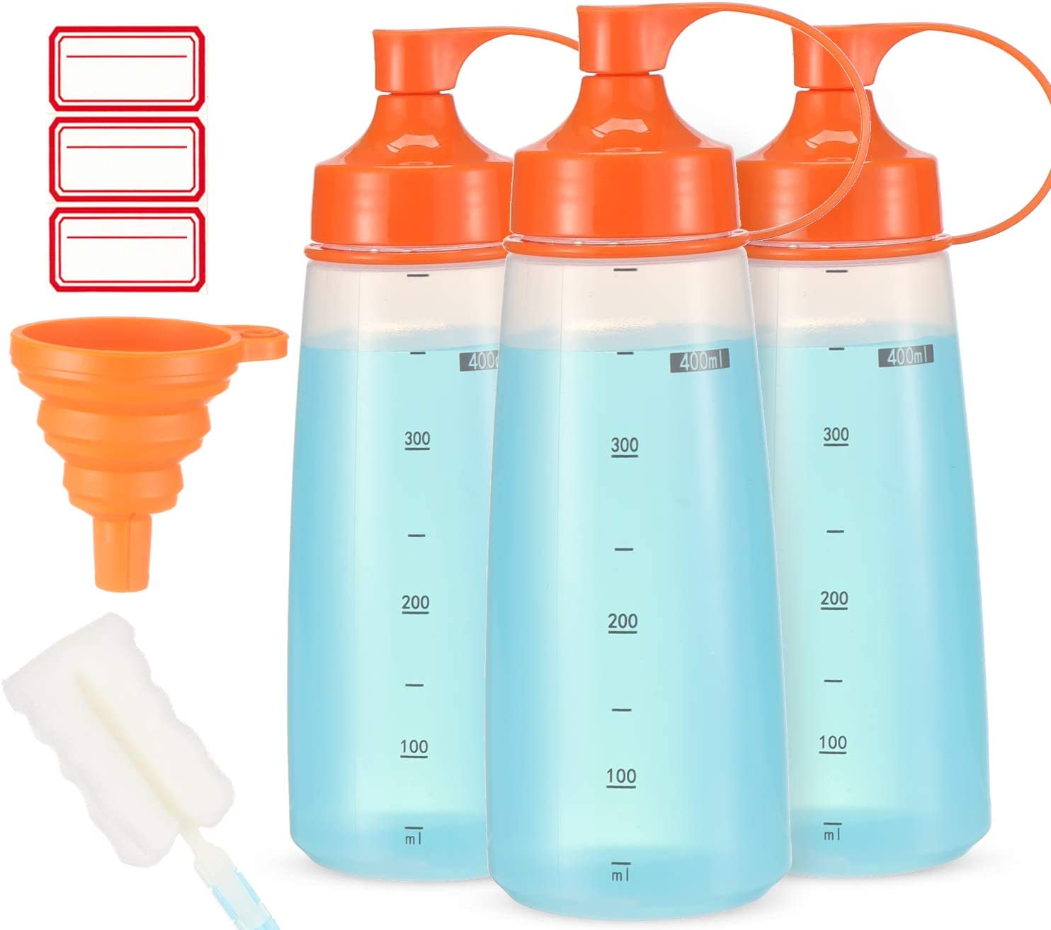 Condiment Squeeze Bottle Wide Mouth, Ondiomn 3 Pack 400ml Empty Reusable Squeeze Bottles for Honey,Batter,Catsup,Onion,Resin,Baking,Expoxy,Relish, BPA Free-Food Grade
