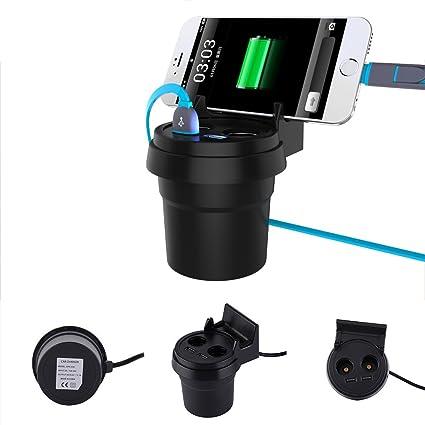 Cable de carga para coche Auto Cargador Cup portavasos con soporte para teléfono móvil 2 Cigarrillos