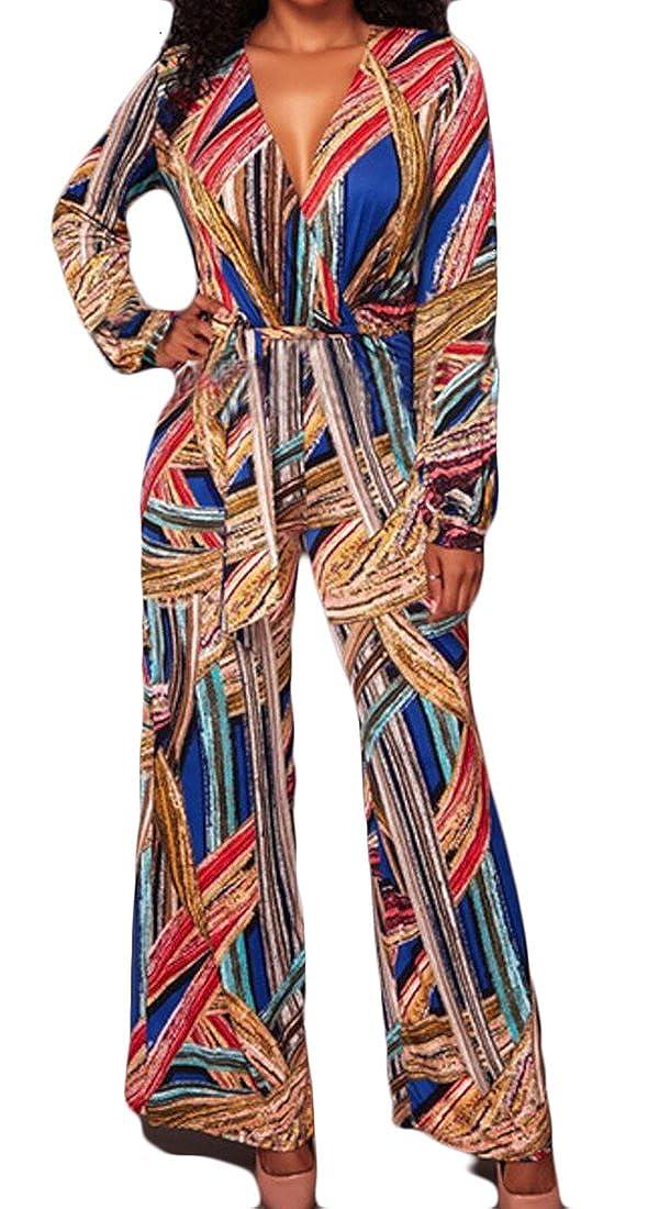 e89e0d21524 Amazon.com  Gocgt Women s Loose Dashiki Print V Neck Jumpsuits Romper   Clothing