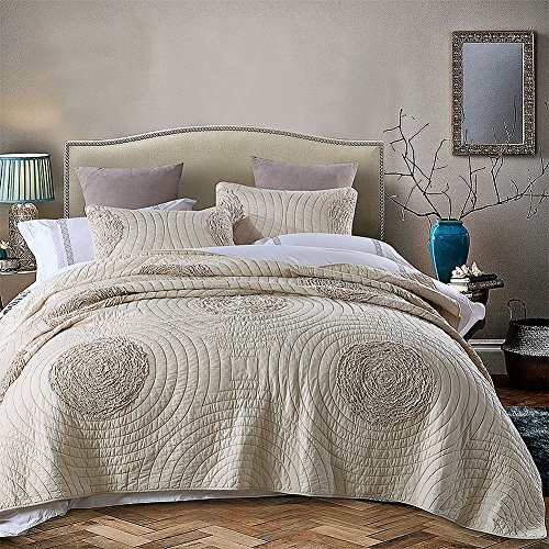 NEWLAKE Floral Bedspread Quilt Sets-Cotton Patchwork Coverlet Set,Champagne Color, Queen Size - Shabby Chic Style Bedding