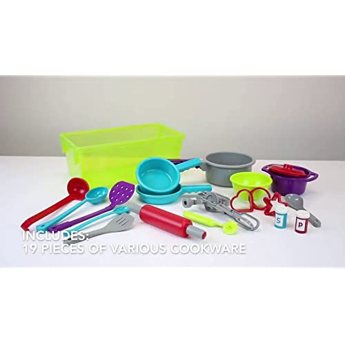 Battat Plastic Kitchen Toys for... Pretend Play Toy Dishes Set Cooking Set