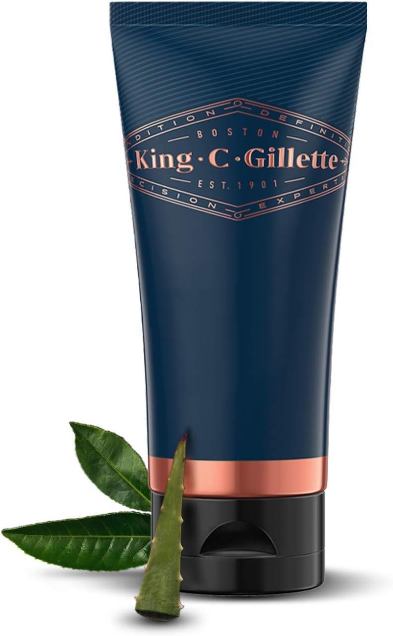 King C. Gillette Gel de Afeitar Hombre con Té Blanco y Aceite de Argán, 150 ml