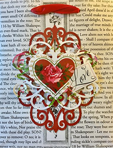 Anna Griffin Small Gold Foil Die-Cut Embellished 3D Gift Bag, Love Heart Scroll Poetry