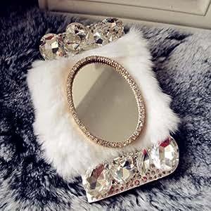 EVTECH (TM) Mirror Series luxux Cristal Diamante Bling Charming Peluche Bosquejo (piel sintética, funda para Apple iPhone 44G 4S