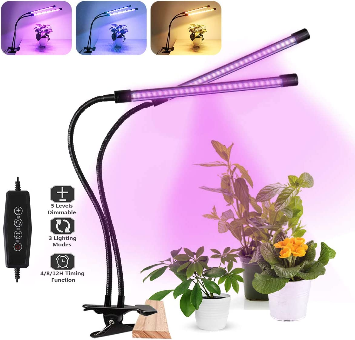 360° LED Grow Light Plant Growing Lamp Lights 3 Timer Modes /& Clip For    V