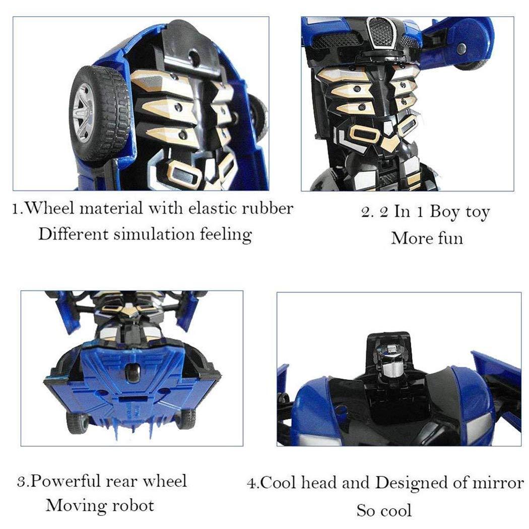 Cartoon Crash Deformation Transforming Robot Car Toy Kids Game Gift Electrical Safety (2pcs, Yellow&Blue) by Viedoct (Image #2)