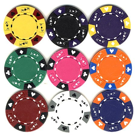 100 14 gr Clay Tri-Color Ace/King Custom Poker Chips by Spinettis